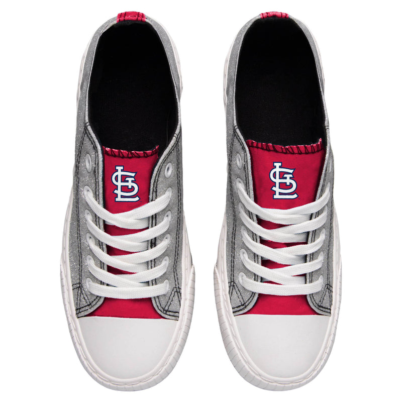 1940eed0 St. Louis Cardinals MLB Womens Glitter Low Top Canvas Shoes