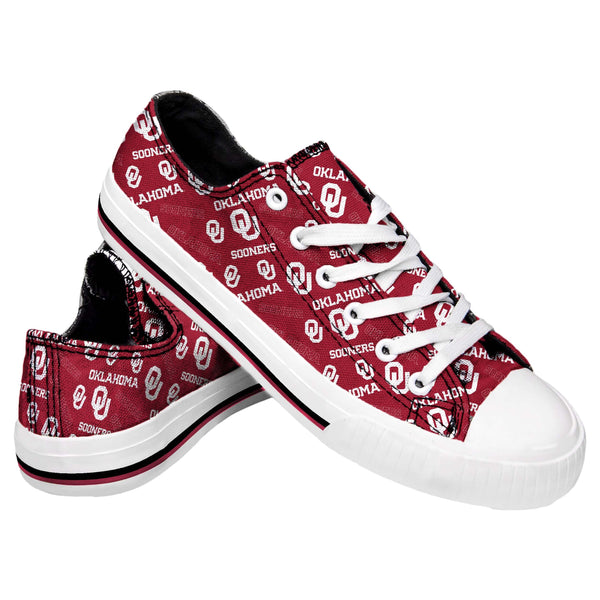 affb3cde4fe9fc Oklahoma Sooners NCAA Womens Low Top Repeat Print Canvas Shoes (PREORDER -  SHIPS IN JUNE