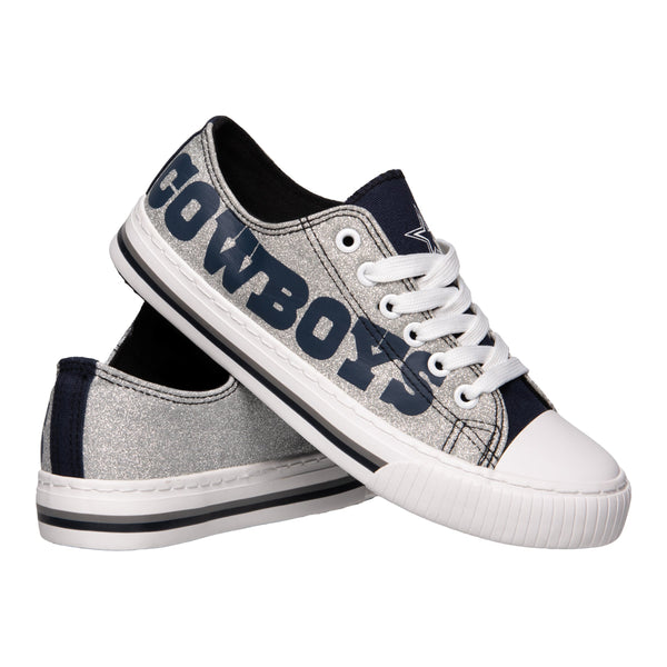 8c2cc8ebf Dallas Cowboys NFL Womens Glitter Low Top Canvas Shoes