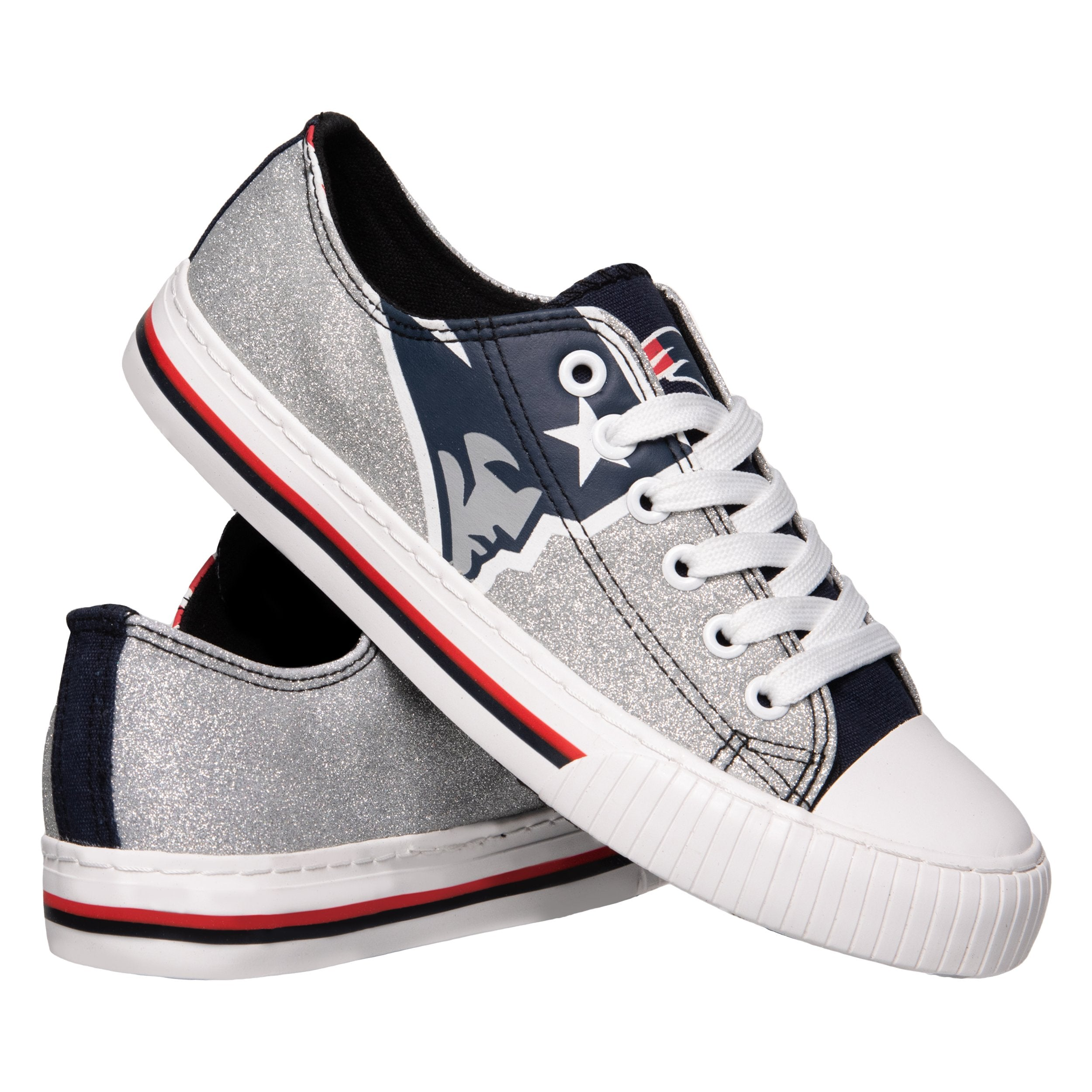 07281e2b5584a New England Patriots NFL Womens Glitter Low Top Canvas Shoes