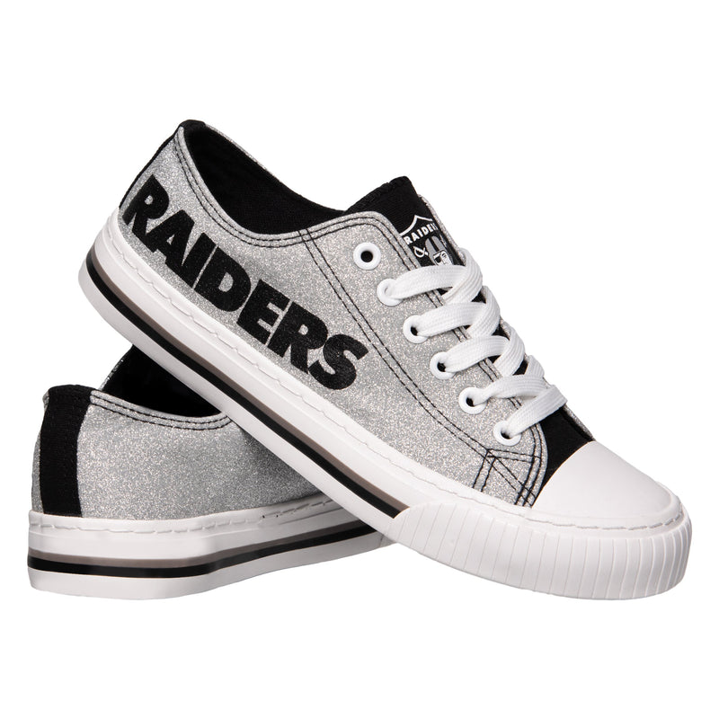 brand new c5854 1b87a Oakland Raiders NFL Womens Glitter Low Top Canvas Shoes ...