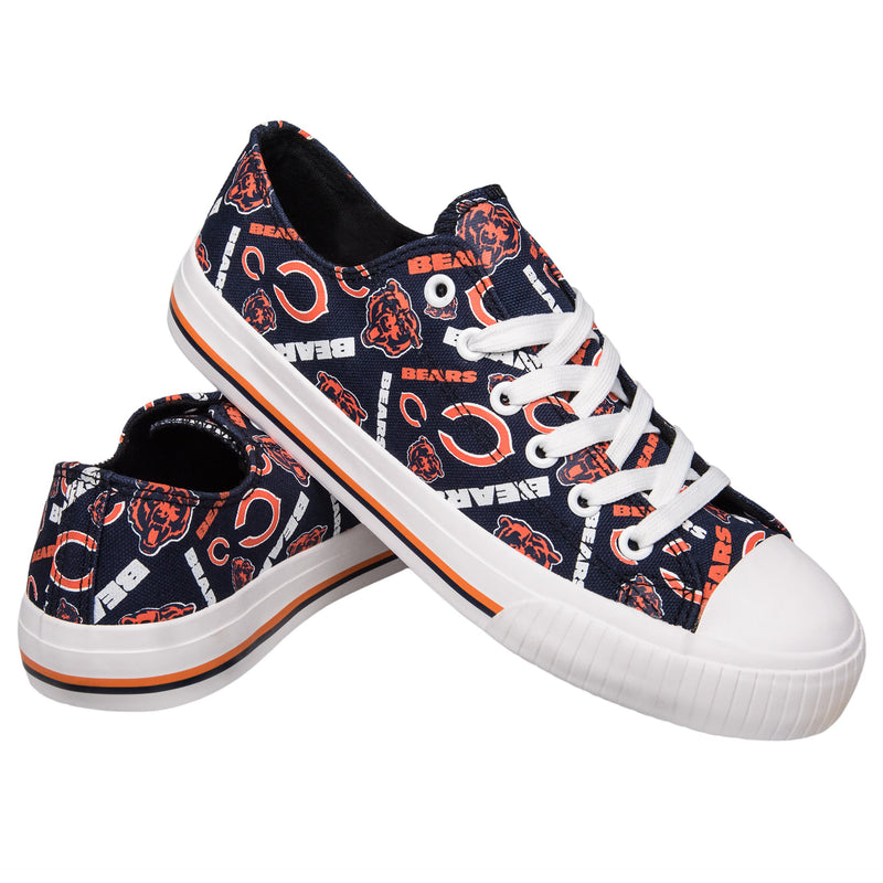 Chicago Bears NFL Womens Low Top Repeat Print Canvas Shoes (PREORDER