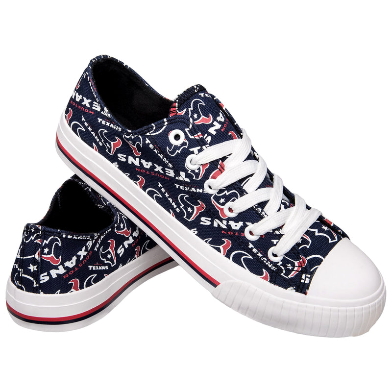 303e9ee0 Houston Texans NFL Womens Low Top Repeat Print Canvas Shoes