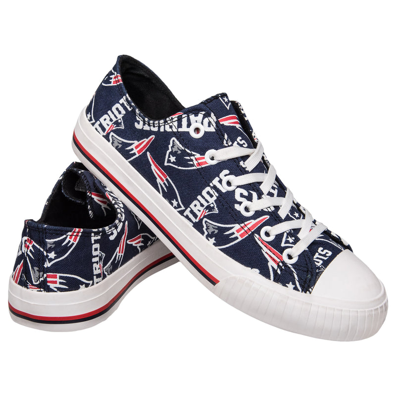 6a9cef15711 New England Patriots NFL Womens Low Top Repeat Print Canvas Shoes