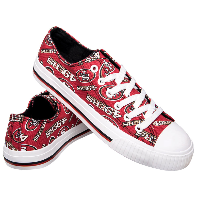 cab3eb79 San Francisco 49ers NFL Womens Low Top Repeat Print Canvas Shoes