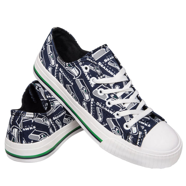 3b0ca554 Seattle Seahawks NFL Womens Low Top Repeat Print Canvas Shoes