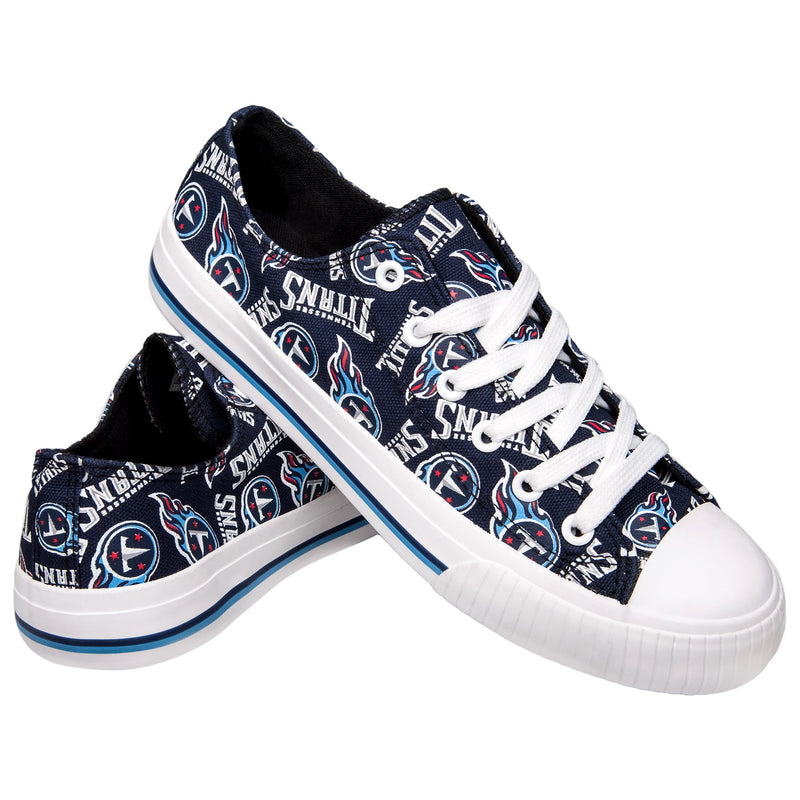 c1bee5cf Tennessee Titans NFL Womens Low Top Repeat Print Canvas Shoes