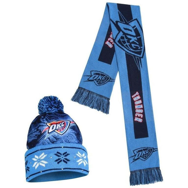 Oklahoma City Thunder NBA Big Logo Light Up Beanie And Scarf Set