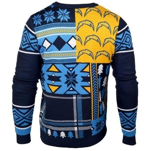 94b05e9b814 San Diego Chargers Patches Ugly Crew Neck Sweater