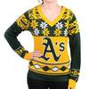 Oakland Athletics MLB Womens Big Logo V-Neck Sweater