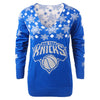 New York Knicks NBA Womens Snowflake V-Neck Sweater