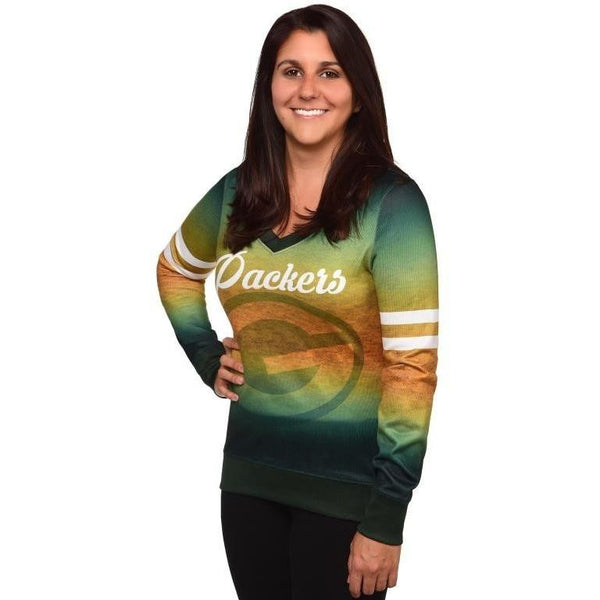 Green Bay Packers NFL Womens Printed Gradient V-Neck Shirt