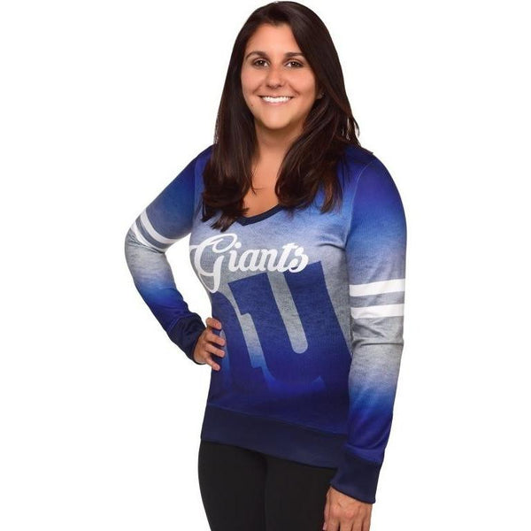 New York Giants NFL Womens Printed Gradient V-Neck Shirt