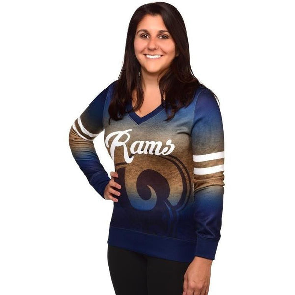 Los Angeles Rams NFL Womens Printed Gradient V-Neck Shirt