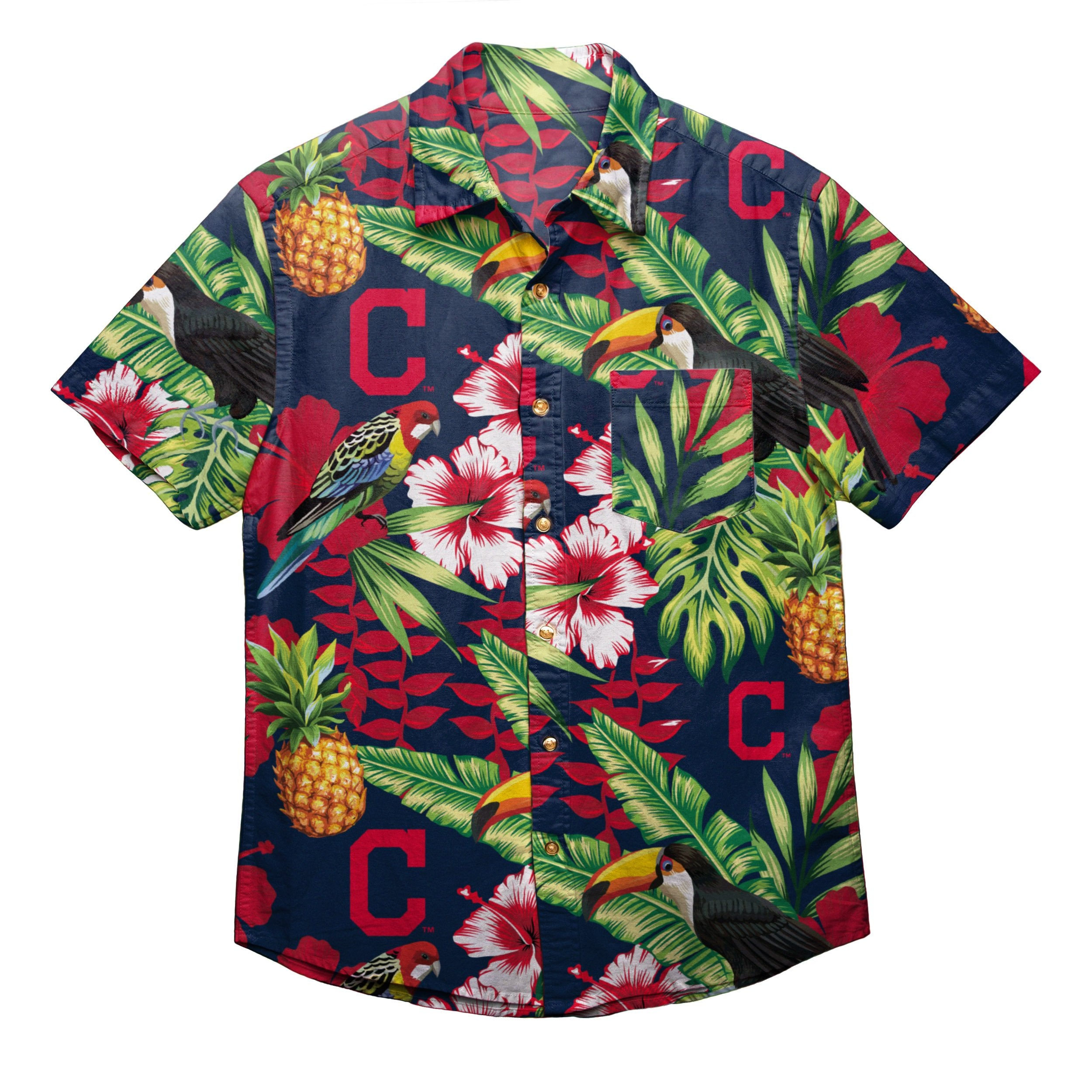 8de1a11a Cleveland Indians MLB Mens Floral Button Up Shirt (PREORDER - SHIPS IN