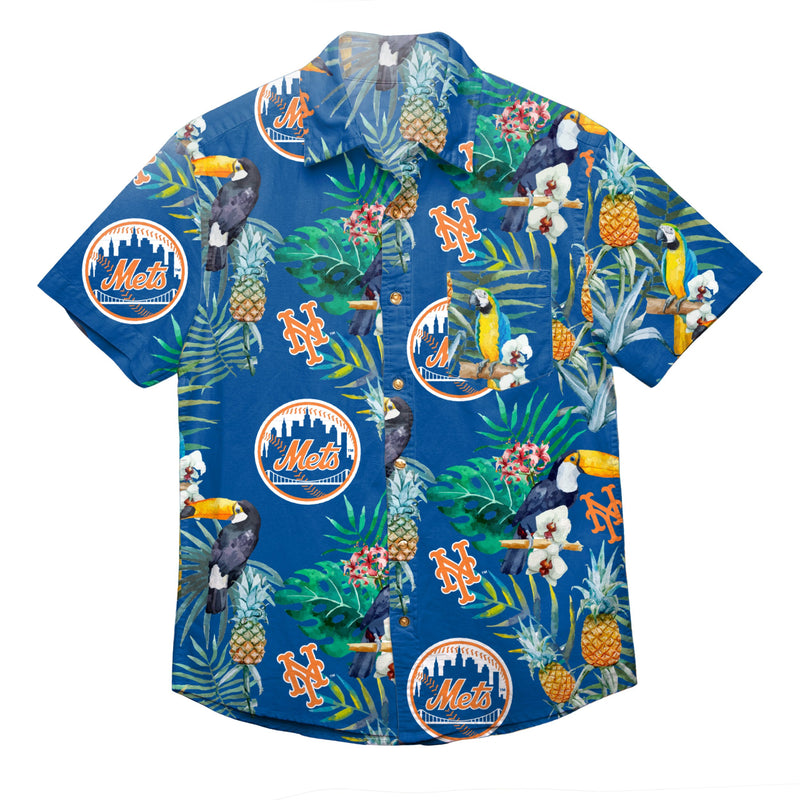 089106e9 New York Mets MLB Mens Floral Button Up Shirt