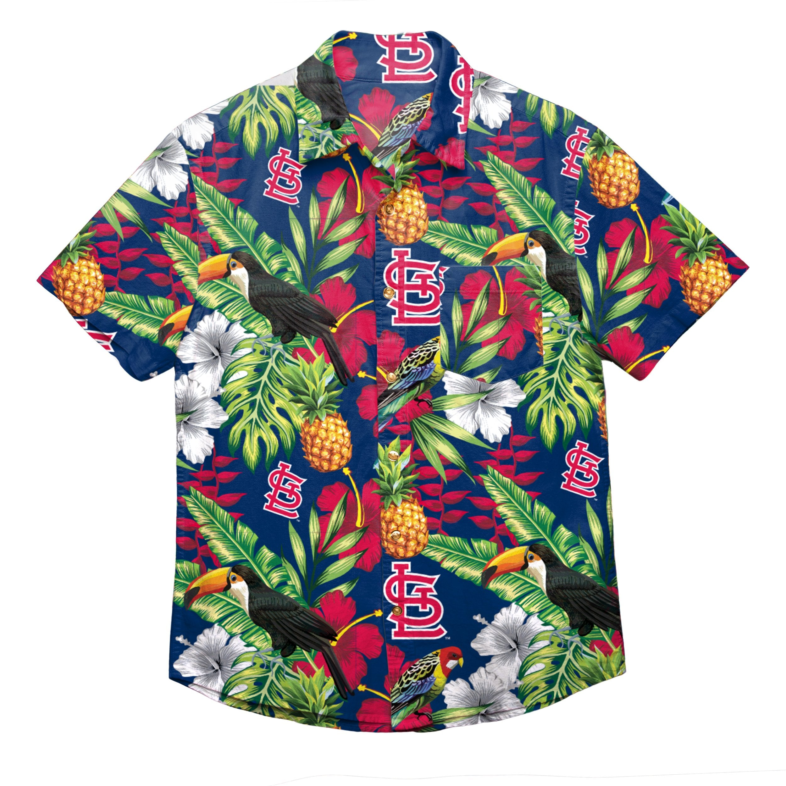 quality design 3f8ae aa178 St Louis Cardinals MLB Mens Floral Button Up Shirt
