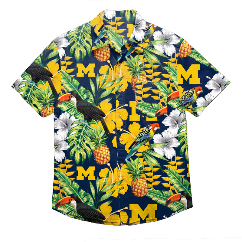 c09e4908 Michigan Wolverines NCAA Mens Floral Button Up Shirt