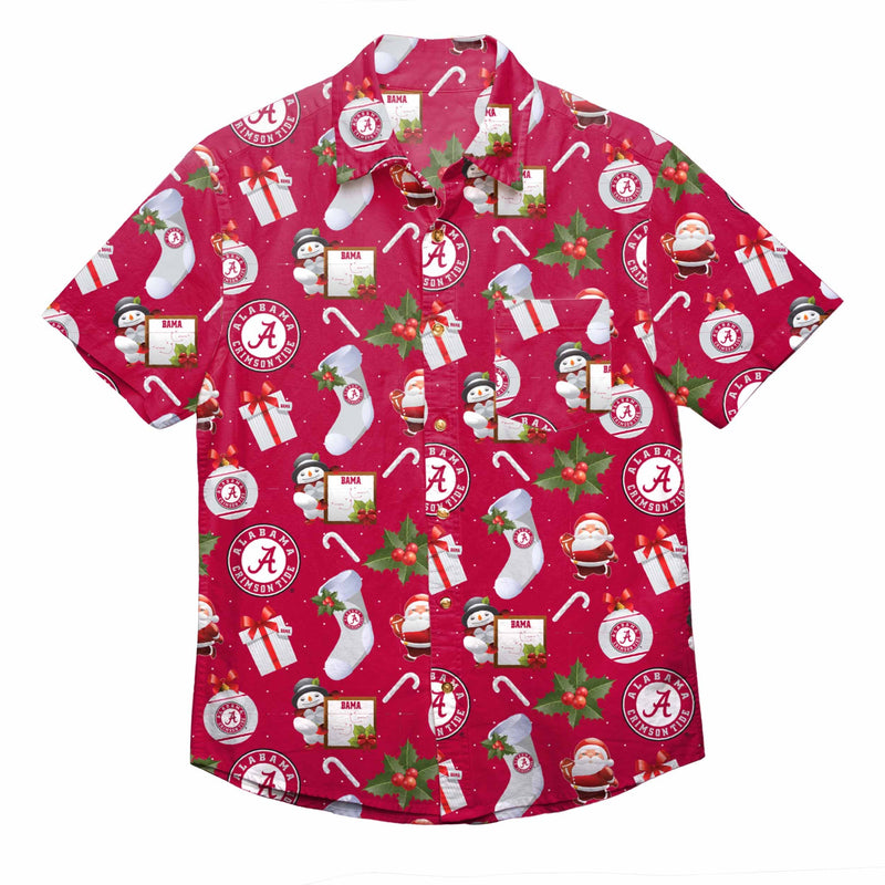 Alabama Christmas.Alabama Crimson Tide Ncaa Mens Christmas Explosion Button Up Shirt