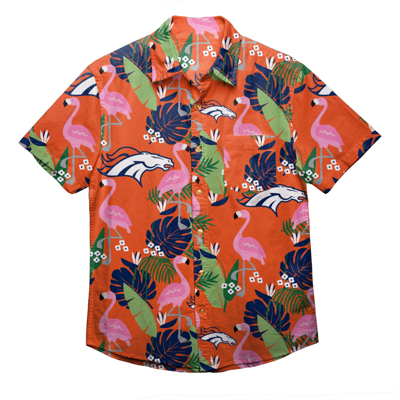 Denver To Hawaii: Denver Broncos NFL Mens Floral Button Up Shirt