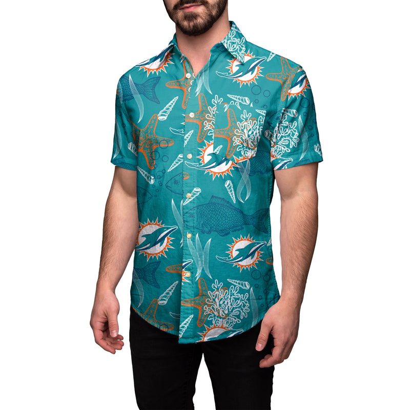 new style 3f7d2 ad529 Miami Dolphins NFL Mens Floral Button Up Shirt