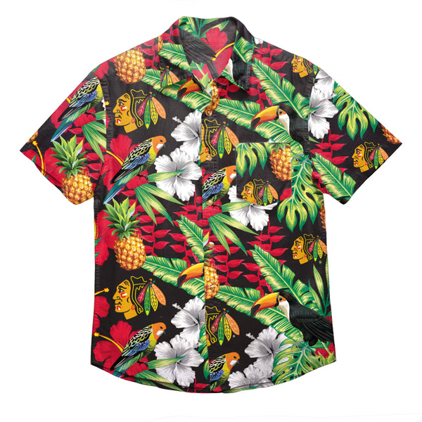fea776529 Chicago Blackhawks NHL Mens Floral Button Up Shirt