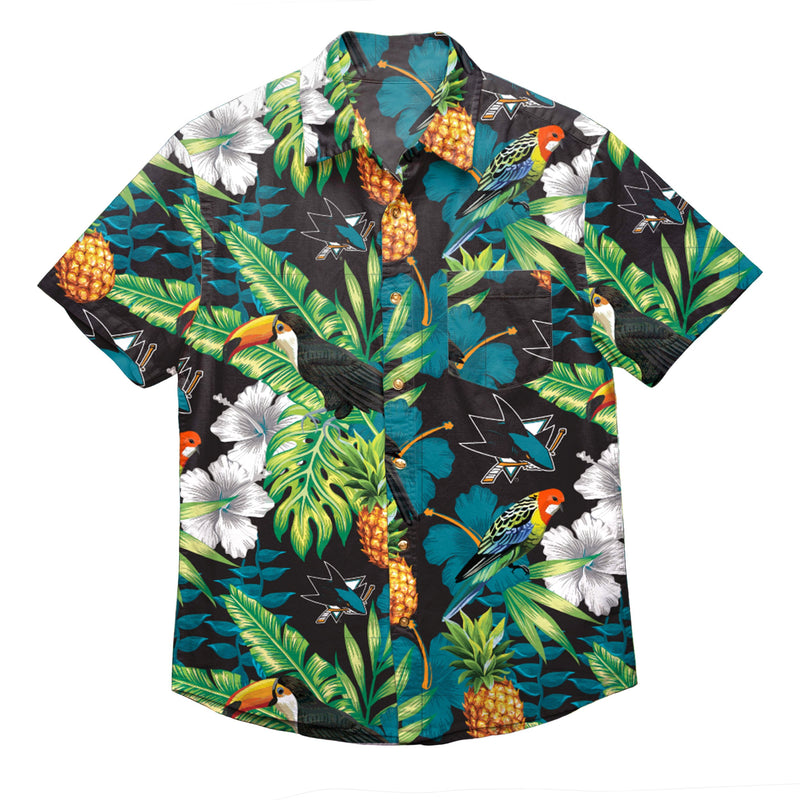 new arrival aa562 8513c San Jose Sharks NHL Mens Floral Button Up Shirt
