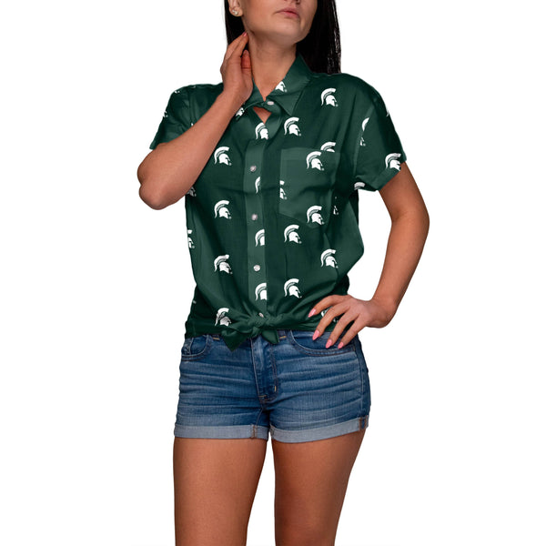 bb5db6e0799 Michigan State Spartans NCAA Logo Blast Womens Button Up Shirt (PREORDER -  SHIPS IN MAY
