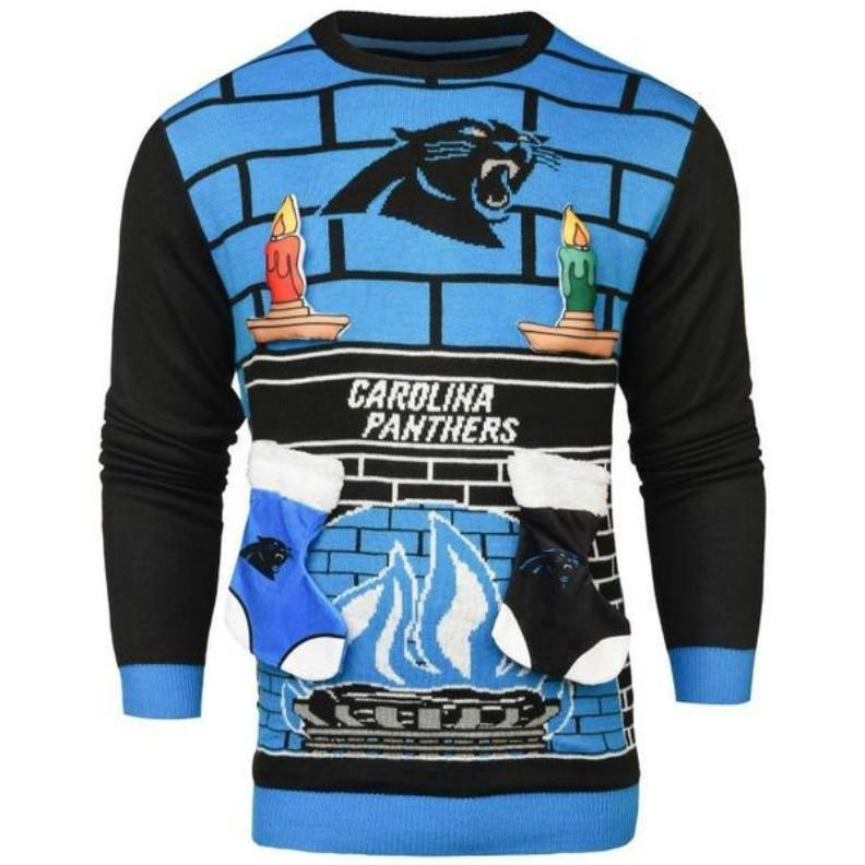 new style 2e89d 1afbb Carolina Panthers NFL Ugly 3D Holiday Sweater