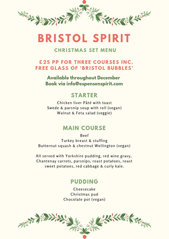 Bristol Spirit Christmas Menu