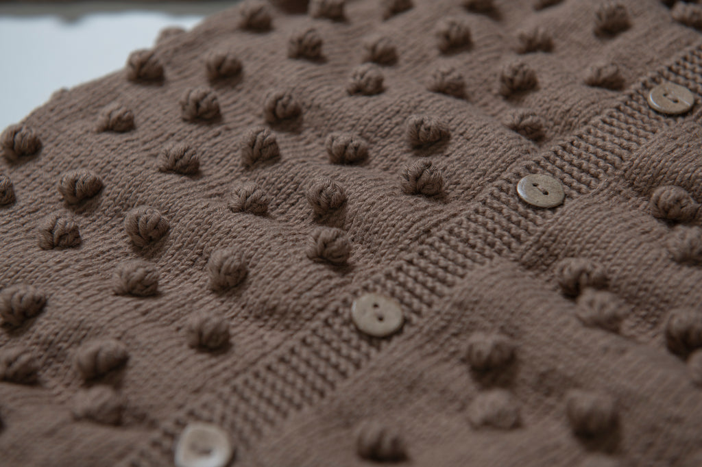 Popcorn Cardigan - Brown