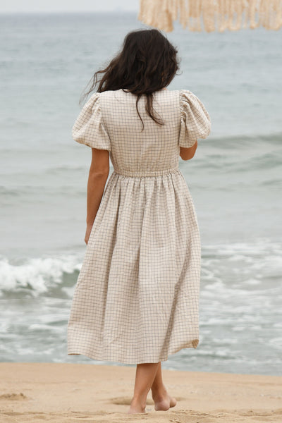 Kalpe Dress - Natural Checked (Pre-order)