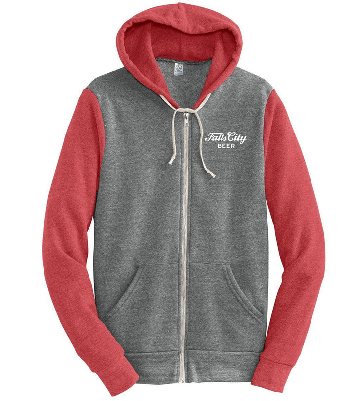 Falls City Wordmark - Red/Gray Zip Hoodie