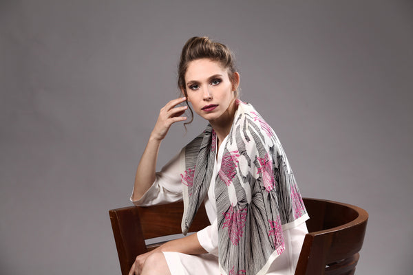 The Pink Line Flower Silk Scarf black & white