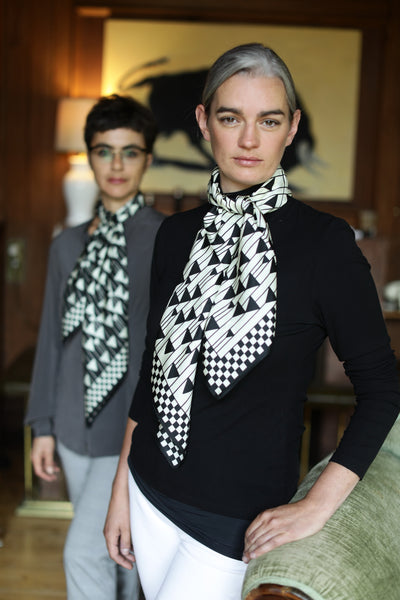 The White Triangles Silk Scarf