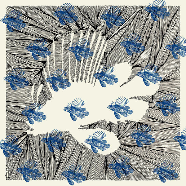 The-Blue-Line-Fish-Scarf-silk-carre-square-black-white-90x90-full-view