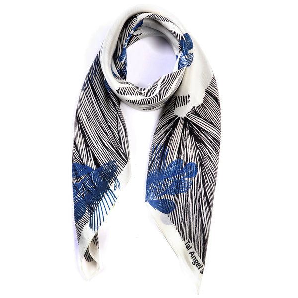 The-Blue-Line-Fish-Scarf-silk-carre-square-black-white-90x90-packshot