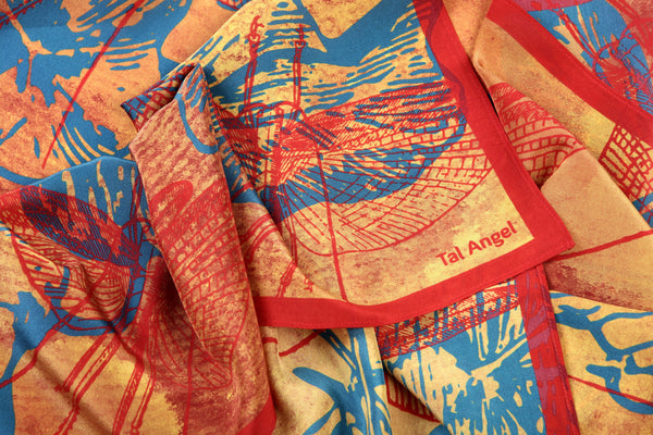 The-Bright-Yellow-Dragonfly-Scarf-silk-carre-square-red-blue-90x90-closeup-view