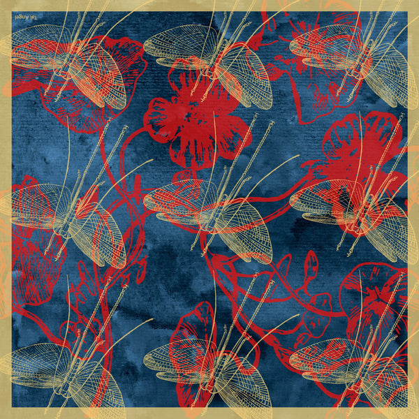 The-Deep-Blue-Dragonfly-Scarf-silk-carre-square-red-yellow-90x90-full-view