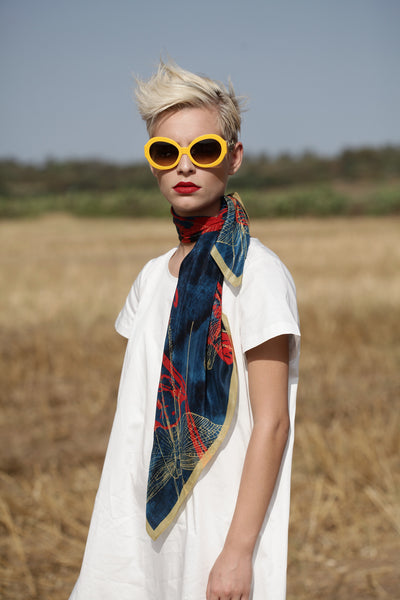 The-Deep-Blue-Dragonfly-Scarf-silk-carre-square-red-yellow-90x90-neck-tie-2016-campaign