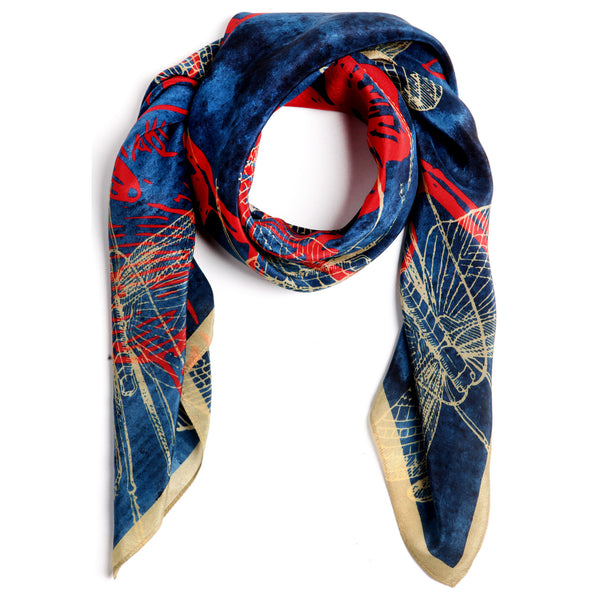The-Deep-Blue-Dragonfly-Scarf-silk-carre-square-red-yellow-90x90-packshot-closeup