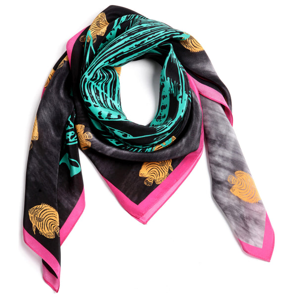 The Great Green Fish Scarf silk carré square pink yellow black white 90x90 packshot closeup
