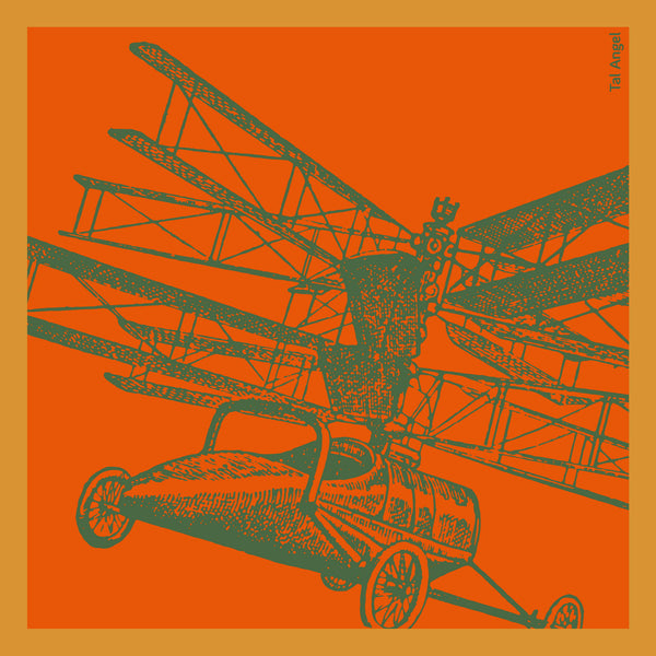 The Orange Helicopter Handkerchief silk square yellow green 45x45 full view
