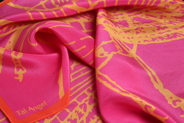 The Pink Dragonfly Handkerchief silk square yellow orange 45x45 closeup view
