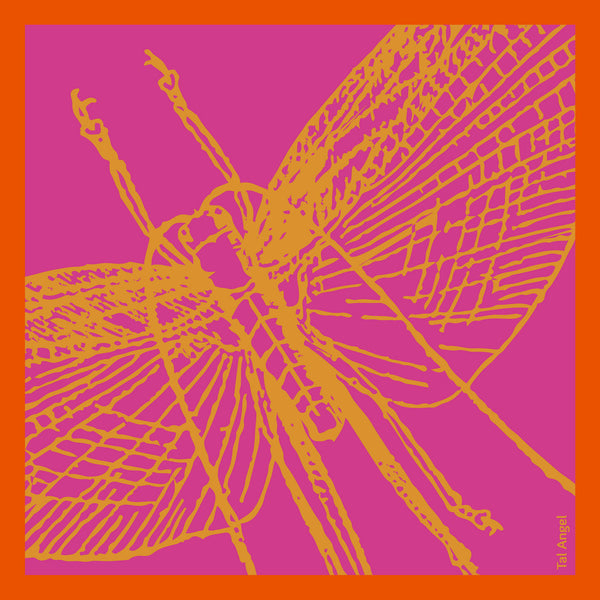 The Pink Dragonfly Handkerchief silk square yellow orange 45x45 full view