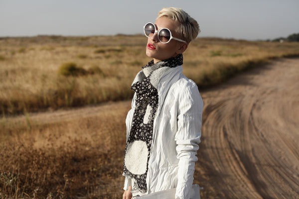 The-Polka-Dot-Felted-Shawl-silk-marino-wool-scarf-white-black-2016-campaign-2