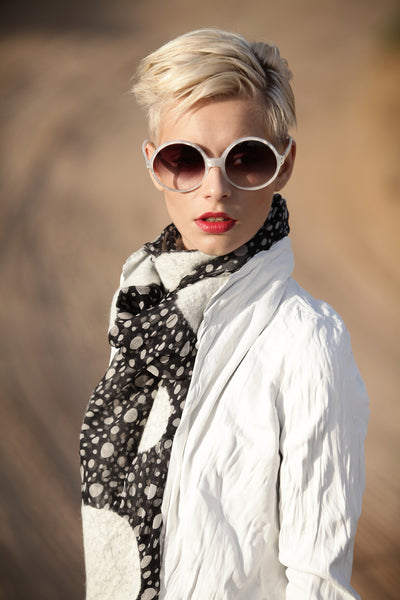 The-Polka-Dot-Felted-Shawl-silk-marino-wool-scarf-white-black-2016-campaign