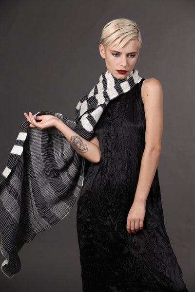 The-Striped-Felted-Shawl-silk-marino-wool-scarf-white-black-grey-2016-studio-packshot-1