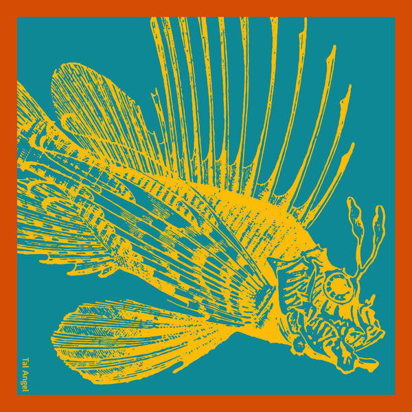 The-Yellow-Fish-Handkerchief-silk-square-blue-orange-45x45-full-view