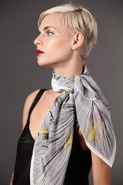 The-Yellow-Insect-Scarf-silk-carre-square-black-white-90x90-neck-tie-packshot